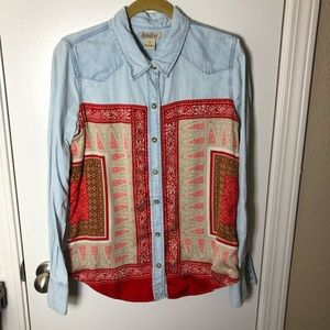 Lucky Brand Chambray Scarf Button Down